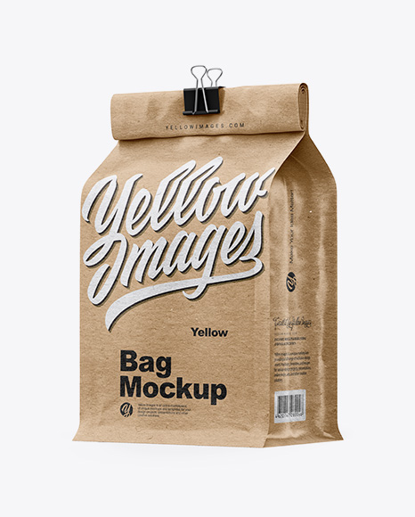 Kraft Coffee Bag With Clip Mockup - Half Side View