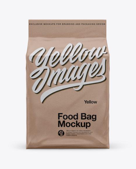 Kraft Stand-up Food Bag Mockup - Front View