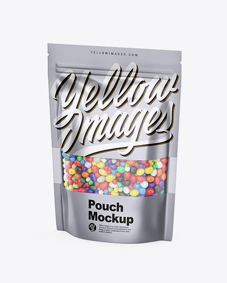 Metallic Stand-Up Pouch With Candies Mockup - Half Side View