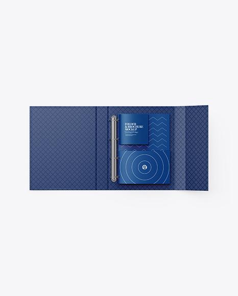Matte Folder With Brochures Mockup - Top View