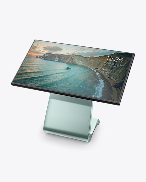 LCD Touch Screen Kiosk Mockup - Half Side View (High-Angle Shot)