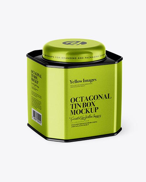 Metallic Octagonal Tin Box Mockup - Half Side View (High-Angle Shot)
