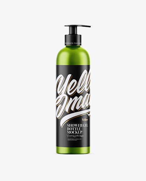 Matte Metallic Shower Gel Bottle Mockup