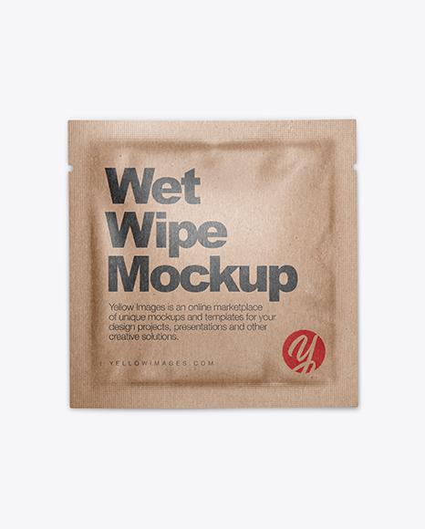 Kraft Wet Wipe Pack Mockup - Top View