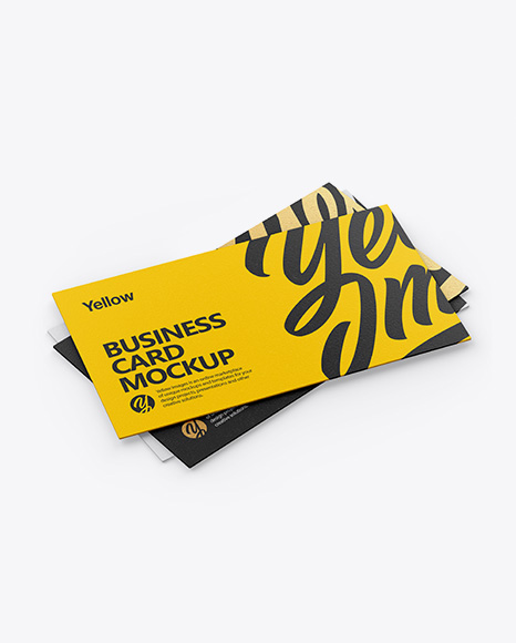 Three Textured Business Cards Mockup - Half Side View