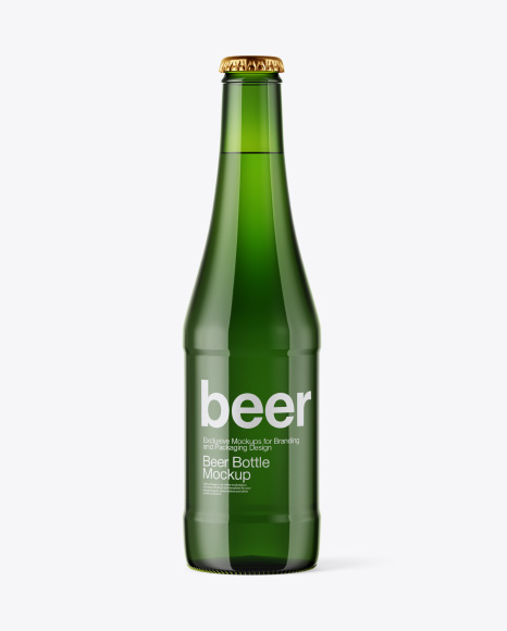 Glass Green Bottle with Lager Beer Mockup