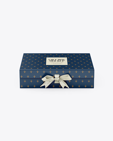 Matte Gift Box With Bow Mockup - Front View (High-Angle Shot)