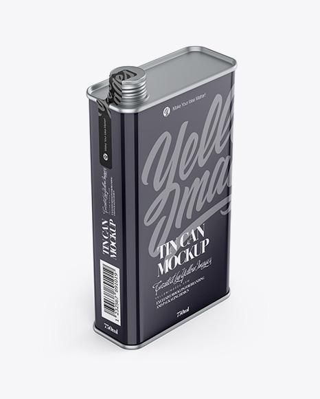 Glossy Tin Can Mockup - Half Side View (High-Angle Shot)