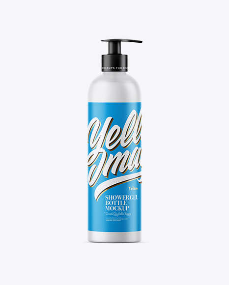 Frosted Clear Shower Gel Bottle with Pump Mockup
