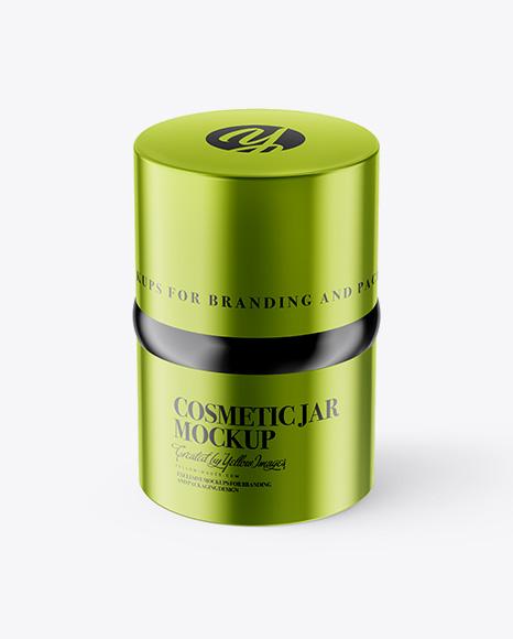20ml Metallic Cosmetic Jar Mockup (High-Angle Shot)