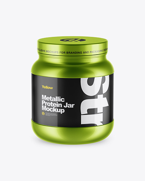 Metallic Protein Jar Mockup - High-Angle Shot