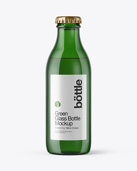 180ml Green Glass Bottle Mockup