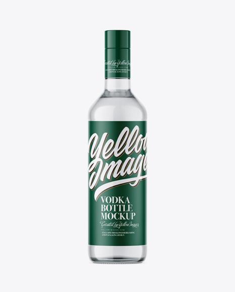 500ml Clear Glass Vodka Bottle Mockup