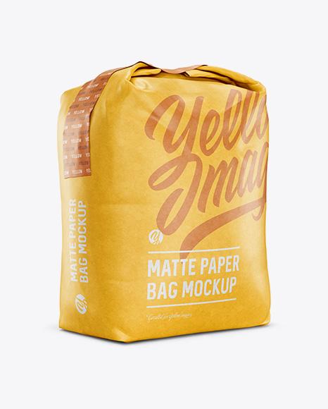 1 kg Matte Paper Bag Mockup - Halfside View