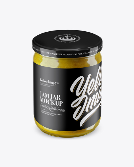 Clear Jar with Yellow Jam Mockup (High Angle Shot) Packaging Mockups