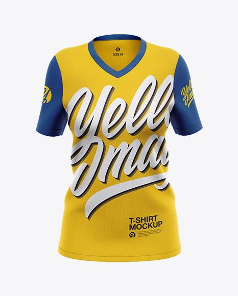 Women`s V-Neck T-Shirt Mockup - Front View
