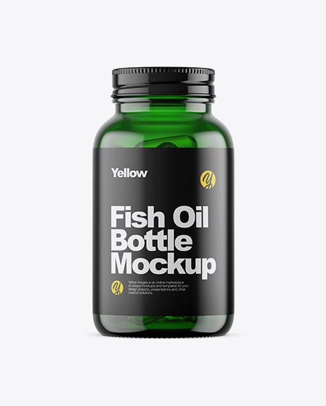 Green Glass Fish Oil Bottle Mockup