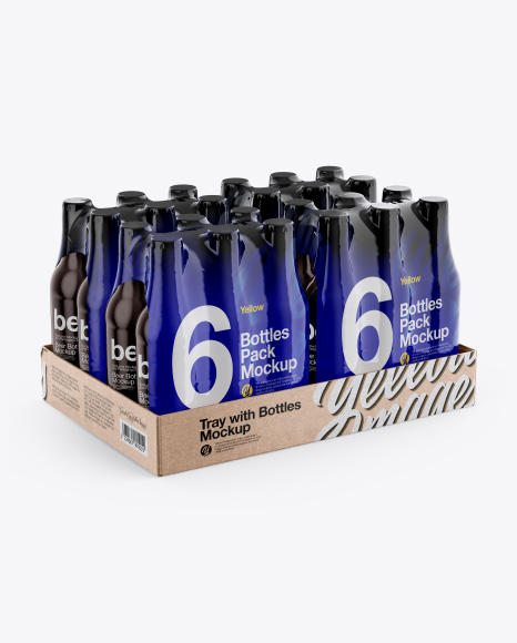 Kraft Tray with Bottles 6 Packs Mockup - Half Side View