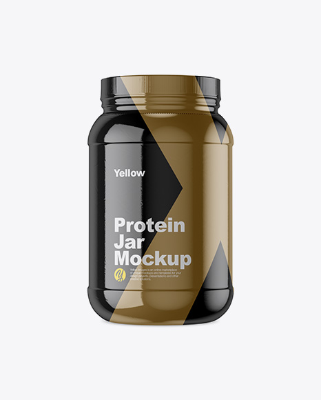 2lb Protein Jar in Glossy Shrink Sleeve Mockup