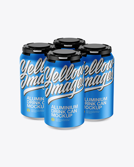 Pack of 4 Matte Metallic Cans with Plastic Holder Mockup - Half Side View