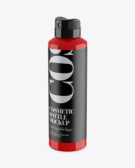 Glossy Spray Bottle Mockup - Half Side View (High-Angle Shot)