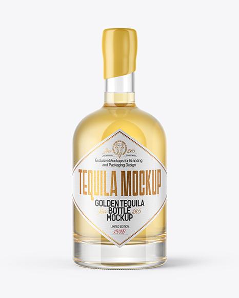 Golden Tequila Bottle with Wooden Cap & Wax Mockup