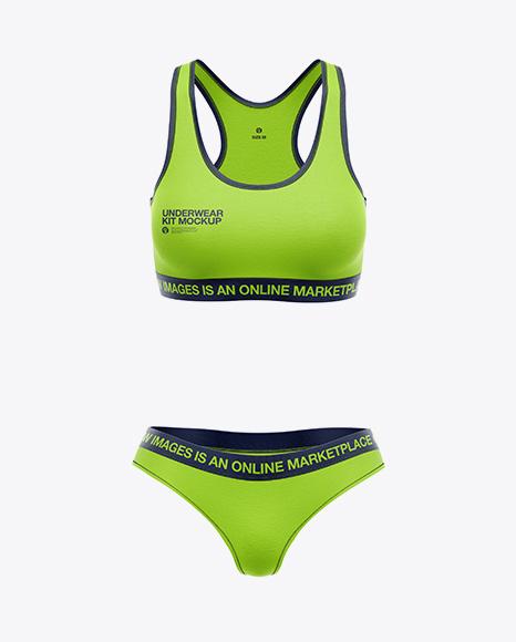 Women`s Underwear Kit Mockup - Front View