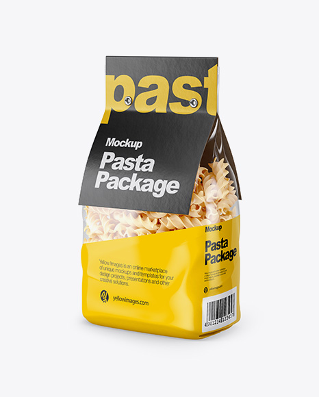 Fusilli Pasta with Label Mockup - Half Side View