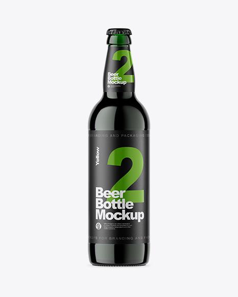 Green Glass Bottle With Dark Beer Mockup