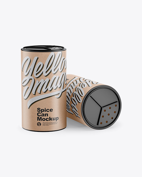 Two Kraft Spice Cans Mockup