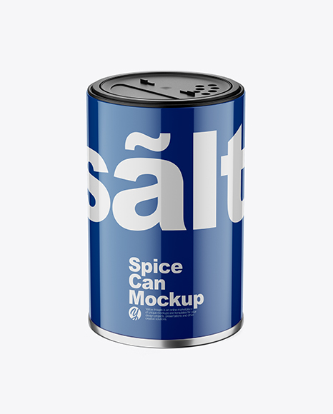 Glossy Spice Can Mockup - Front View (High Angle Shot)