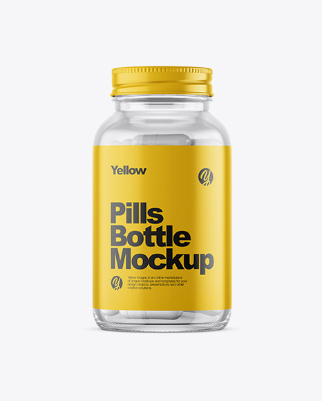 Clear Glass Bottle With White Pills Mockup