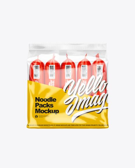 5 Noodle Packs Mockup - Front View