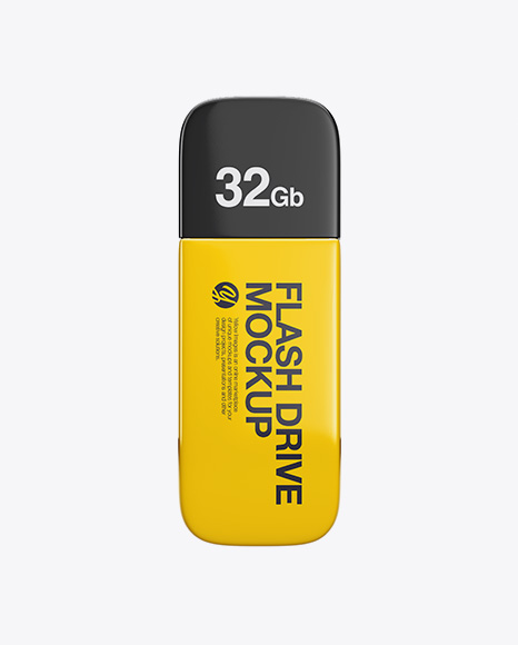 Glossy USB Flash Drive Mockup - Top VIew