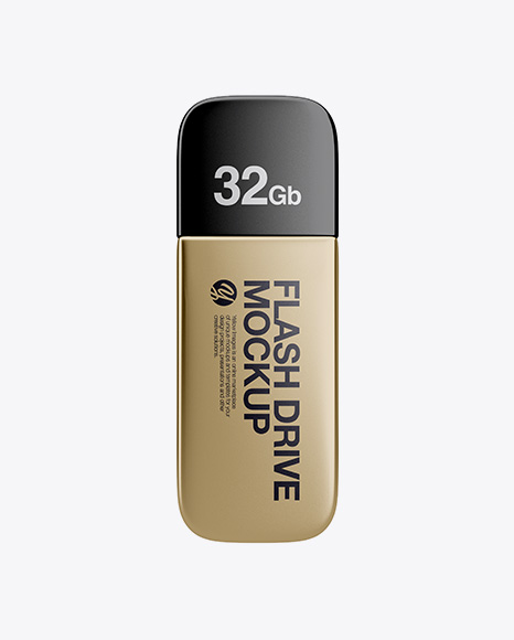 Metallic USB Flash Drive Mockup - Top View