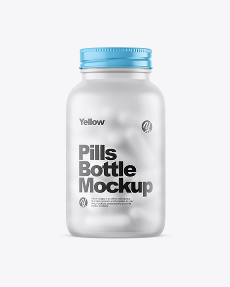 Frosted Glass Bottle With White Pills Mockup