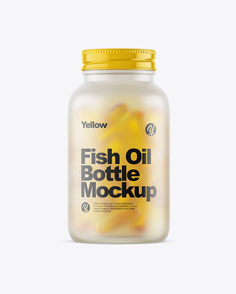 Frosted Glass Bottle With Fish Oil Mockup
