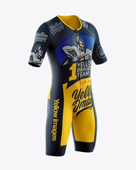 Men's Cycling Speedsuit Mockup - Half Side View