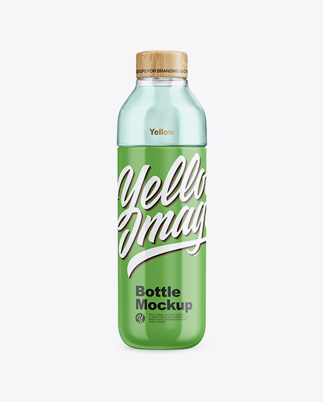 Glossy Bottle With Liquid Mockup