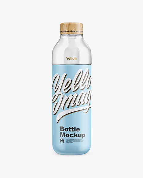 Matte Bottle With Water Mockup