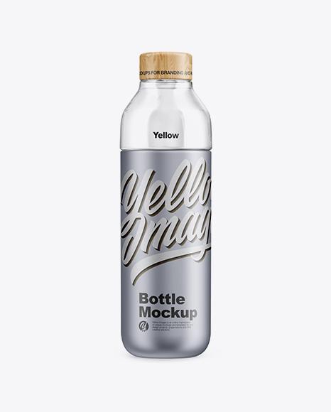 Metallic Bottle With Water Mockup