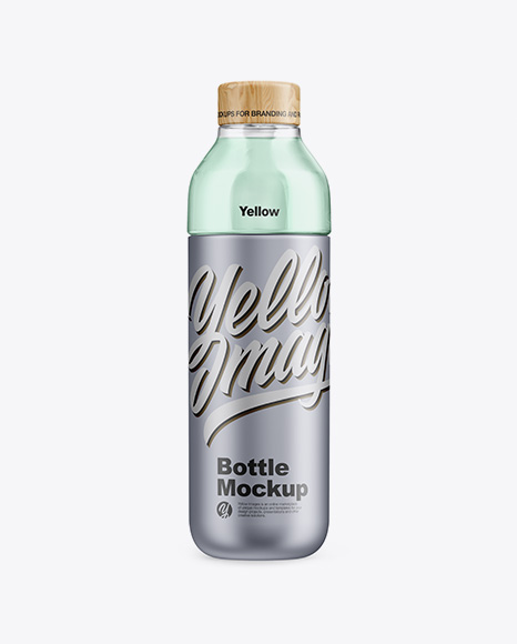 Metallic Bottle With Liquid Mockup
