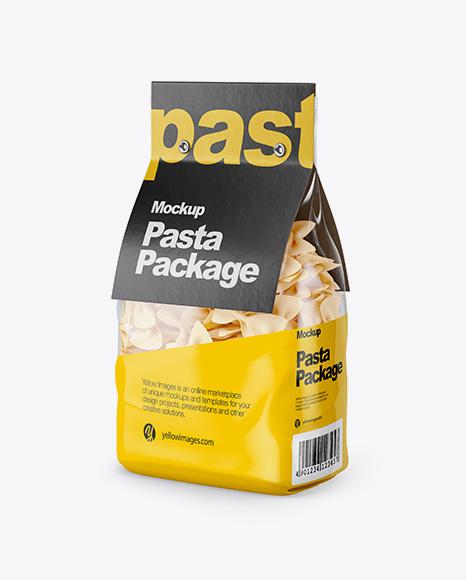 Fiocchi Rigati Pasta with Paper Label Mockup - Half Side View