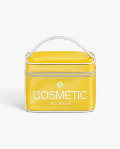 Glossy Cosmetic Bag Mockup - Front View (High-Angle Shot)