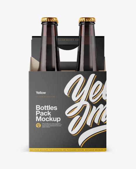 Amber Bottles Pack Mockup - Front View