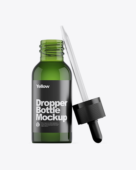 Opened Green Glass Dropper Bottle Mockup