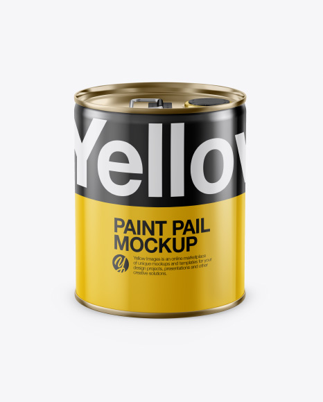 Glossy Paint Pail Mockup - Front View (High-Angle Shot)