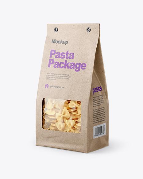 Kraft Bag with Fiocchi Rigati Pasta Mockup - Half Side View