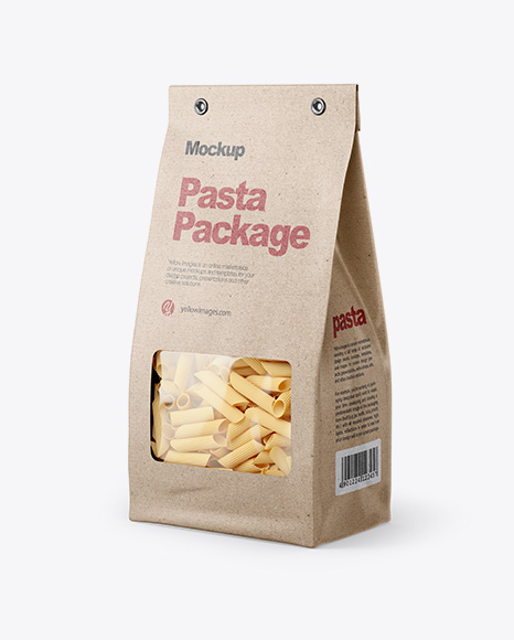 Kraft Bag with Pennette Rigate Pasta Mockup - Half Side View