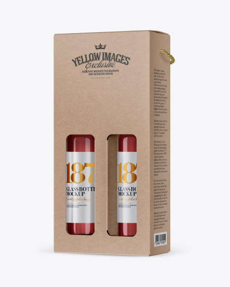 Kraft Rose Wine Bottles Box Mockup - Half Side View